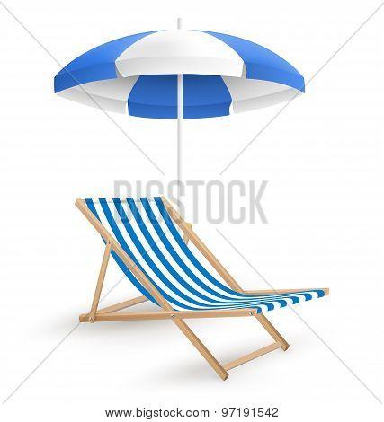 Sun Beach Umbrella With Beach Chair Isolated On White