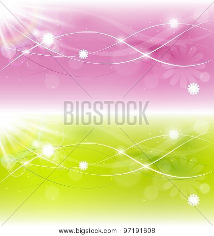 Two Abstract Spring Background With Sunlight And Flowers