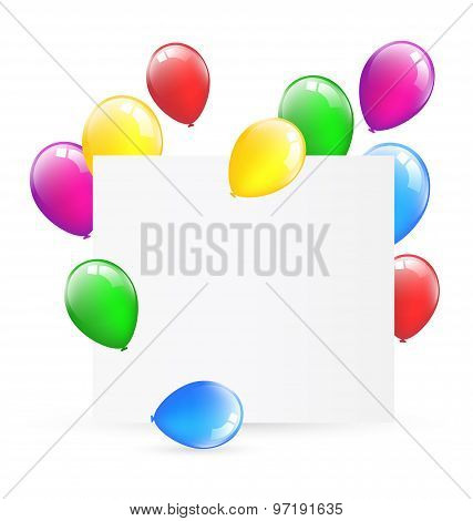 Festive Paper Frame With Inflatable Bright Air Balls Isolated On White