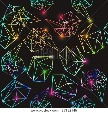Abstract seamless geometric background with lights . Vector rainbow illustration