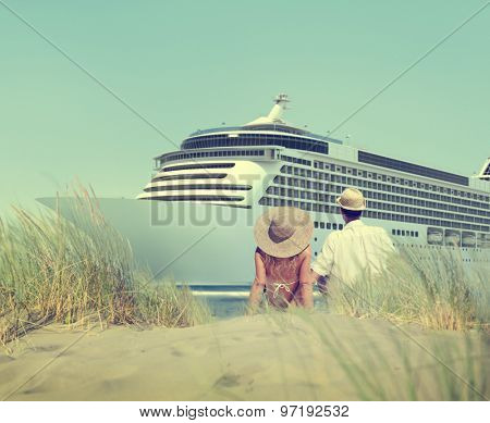 Couple Sitting Comfortable Beach Grass Holiday Concept