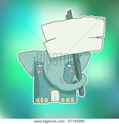 Cartoon Character Elephant with wooden poster Isolated on Color Blurred Background. Vector.