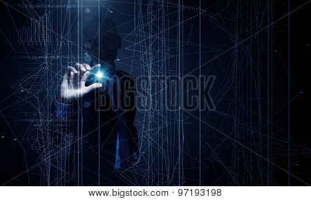Businessman in suit working with digital vurtual screen