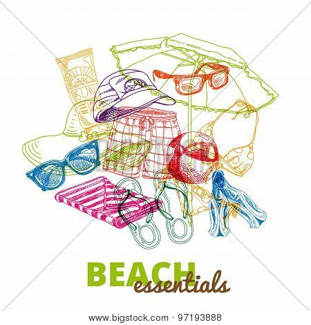 Hand drawn vector illustration. Beach essentials.