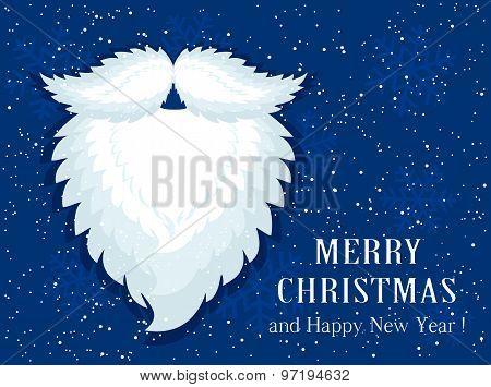 Santa Beard On Blue Snow Background