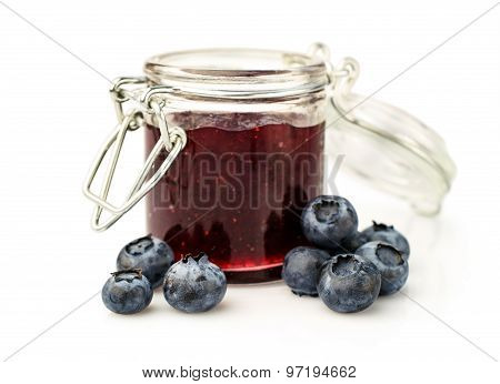 Blueberries Jam In A Glass Jar