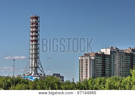 Chimney Industrial Gas Boiler, District Heating Plant, St. Petersburg, Russi