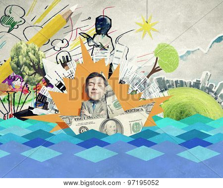 Young businessman in money boat floating on waves