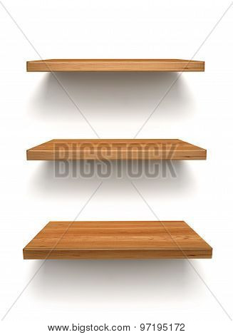 Wooden Shelfs On The Wall