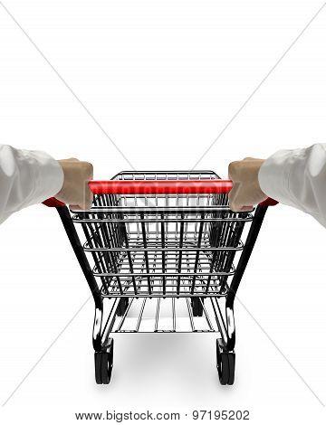 Hands Pushing 3D Empty Shopping Cart