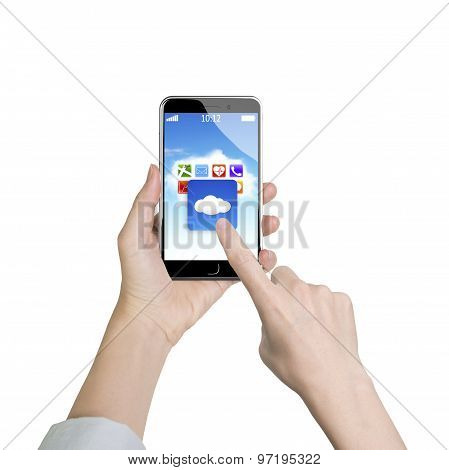 Woman Hand Holding Smart Phone Finger Touching Cloud Application