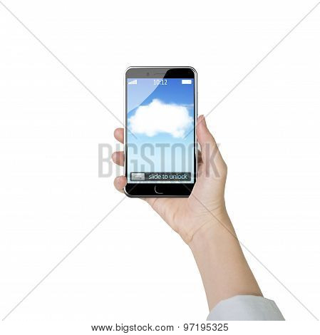 Female Hand Holding Smart Phone With White Cloud Application