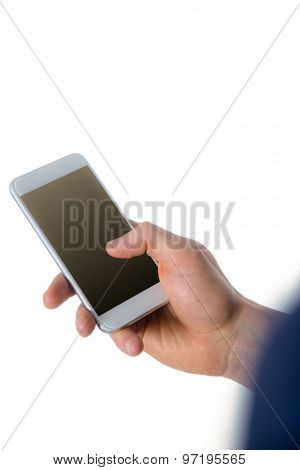 Hand of businessman holding smartphone on white background