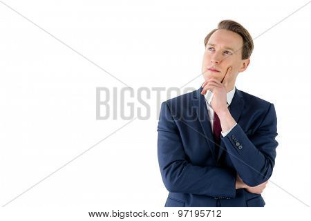 Thoughtful businessman looking away on white background