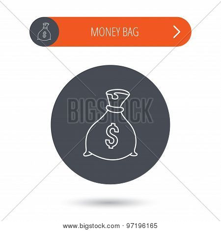 Sack with dollars icon. Money bag sign.