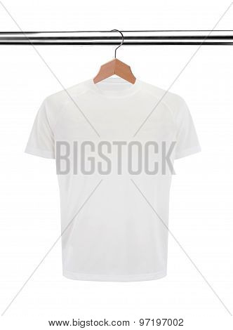 White T-shirt On Hanger Isolated On White Background
