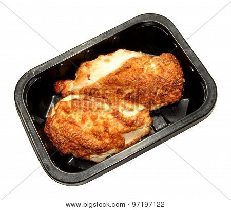 Tray Of Cooked Chicken Breasts With Skin
