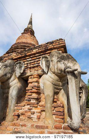 Sukothai historical park, Unesco world heritage. Chang Rop Temple ,Thailand