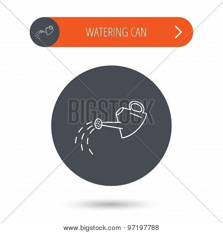 Watering can icon. Gardener equipment sign.