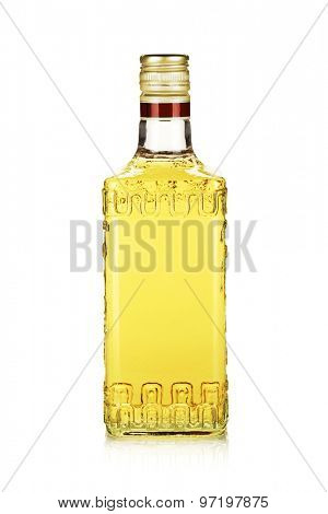Bottle of gold tequila. Isolated on white background