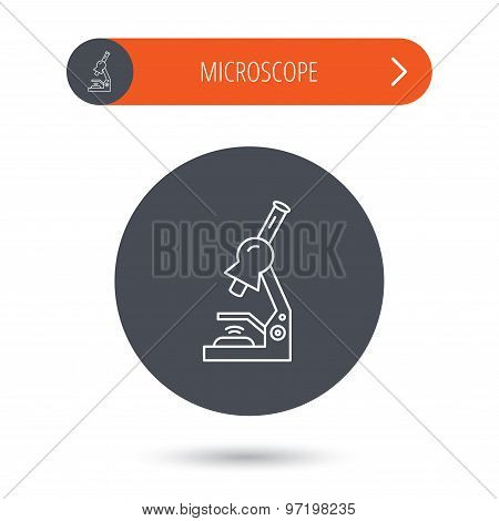 Microscope icon. Medical laboratory equipment.