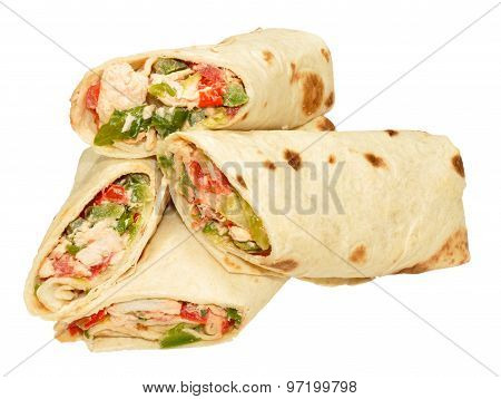 Chicken And Sweet Pepper Filled Wraps