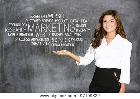 Woman who is doing marketing work for a business
