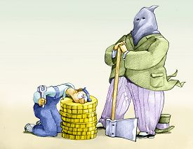 stock photo of beheaded  - a banker dresses as Executioner to behead a worker on a stump of coins - JPG