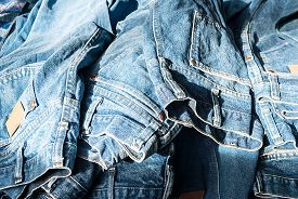 picture of denim jeans  - Lot of different blue jeans Blue Jeans - JPG