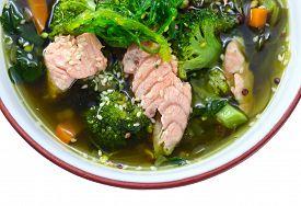 image of green algae  - soup with salmon and green algae Korean cuisine - JPG