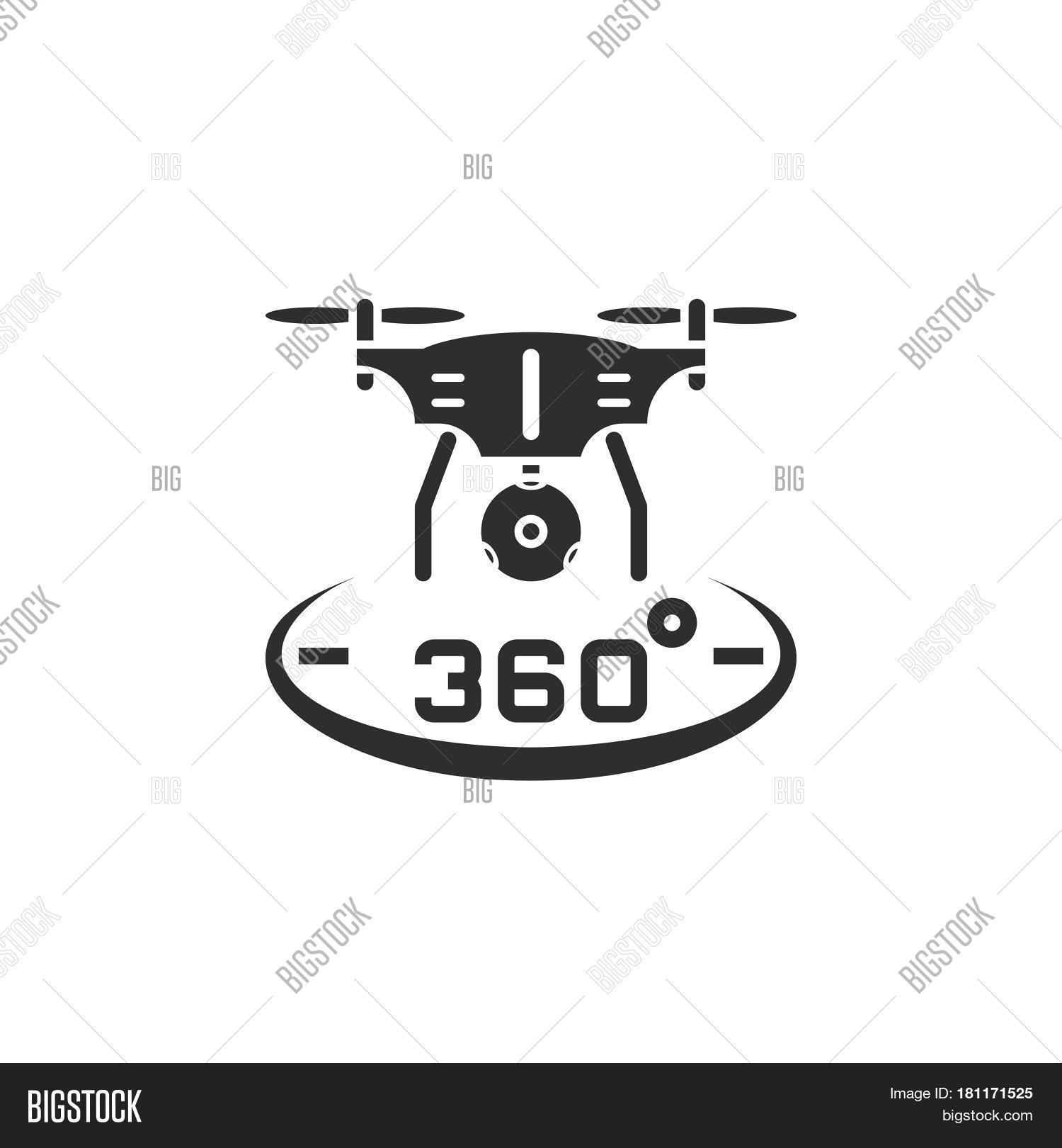 Drone Quadrocopter With 360 Degree Panoramic Camera Icon Vector Solid Logo Illustration Pictogram