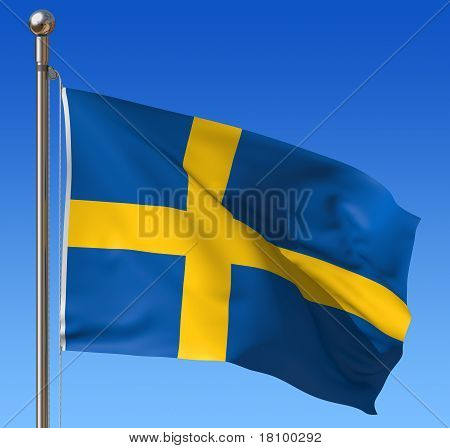 Flag of Sweden against blue sky.