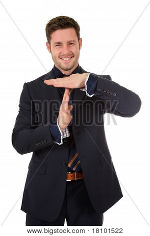 Attractive Businessman Time Out Symbol