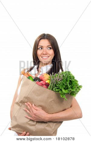 Woman Holding Bags With Grocery In Supermarket