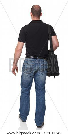 man with bag rear view isolated on white