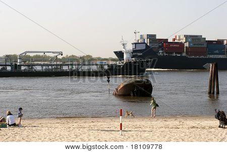Ship Way And Beach