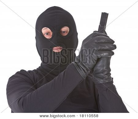 Robber With His Gun Isolated
