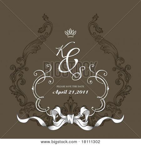 vintage cover design- best for scrapbook project - DIY- wedding invitation card