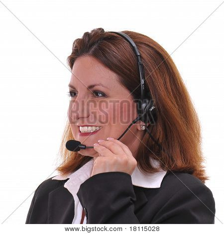 Cute business woman in Customer services