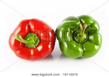 Placed red and green bell peppers