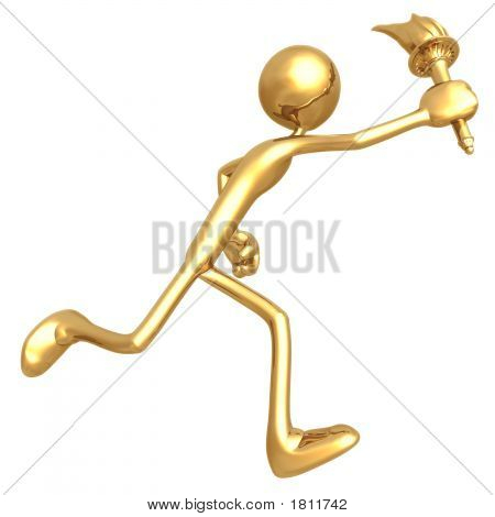 Golden Man Running With Flaming Sports Torch