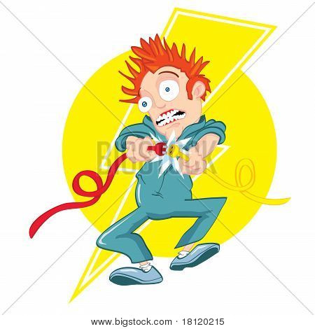 Cartoon Electrician Getting Electrocuted