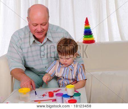 Großvater und sein Enkel Zusammenstellung beteiligt. Symbol der Familie.