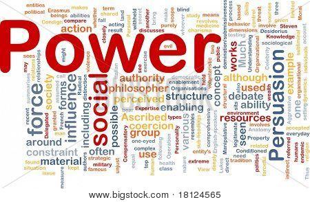 Konzept Wordcloud Hintergrund der macht