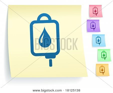 Bloed IV infuus pictogram op Post-It Note papier collectie originele illustratie