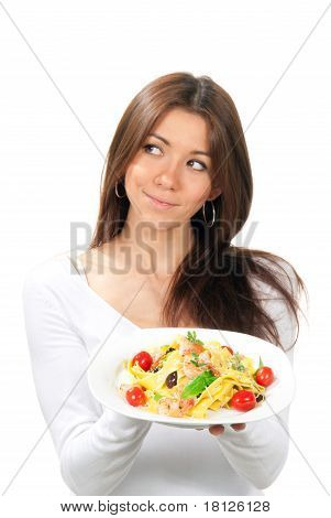 Pretty Woman Holding The Plate With Pappardelle Pasta