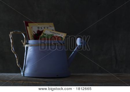 Purple Wooden Watering Can