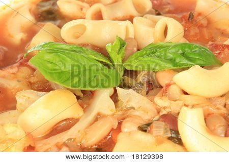 Close up on Minestrone Soup