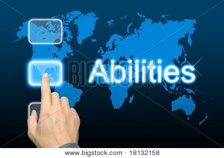 businessman hand pressing abilities button on a touch screen interface