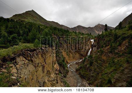 Wild landscape in taiga,Russia.Canyon of river Shumak
